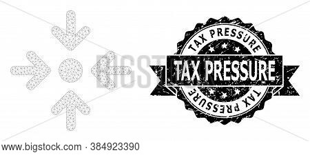 Tax Pressure Dirty Seal And Vector Meeting Point Mesh Model. Black Seal Has Tax Pressure Text Inside