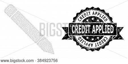 Credit Applied Scratched Seal Imitation And Vector Pencil Mesh Model. Black Seal Contains Credit App