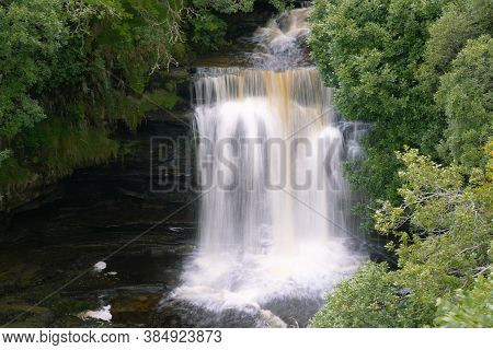 Lealt Falls On The Isle Of Skye, Scotland. Beautiful Collection Of Many Smaller Falls Flowing In Dif