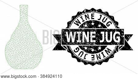 Wine Jug Scratched Seal And Vector Wine Jug Mesh Model. Black Seal Contains Wine Jug Tag Inside Ribb