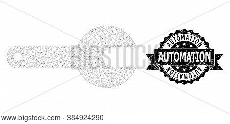 Automation Grunge Seal And Vector Spanner Tool Mesh Model. Black Seal Has Automation Caption Inside