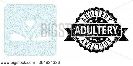 Adultery Corroded Stamp Seal And Vector Love Swans Mesh Model. Black Stamp Contains Adultery Title I