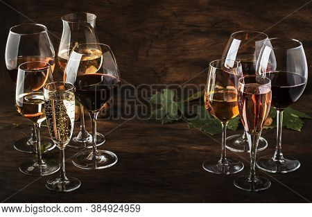 Wine Tasting, Still And Sparkling Wines. Red, White Wine, Rose And Champagne шт Assortment In Wine G