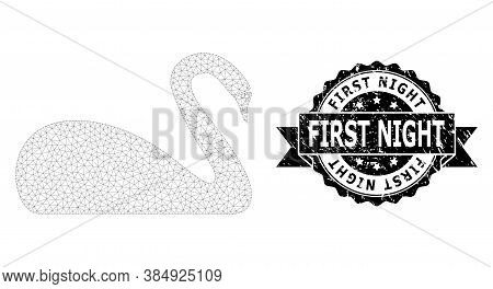 First Night Grunge Stamp Seal And Vector Swan Mesh Model. Black Seal Has First Night Title Inside Ri