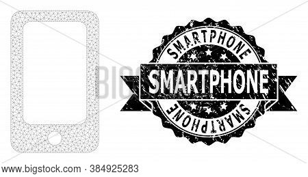 Smartphone Rubber Watermark And Vector Smartphone Mesh Structure. Black Stamp Seal Has Smartphone Ti