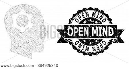 Open Mind Textured Stamp And Vector Head Gear Mesh Model. Black Stamp Contains Open Mind Tag Inside