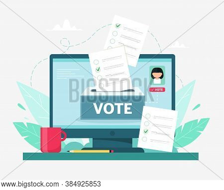Online Voting Concept. Computer With Human Recognition And Remote Voting System.vector Illustration