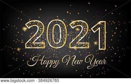 2021 Happy New Year Vector Illustration With Gold Text On Black Background - 2021 New Year Golden Te