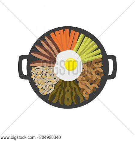 Bibimbap Korean Food. Asian Food Icon. Vector Illustration.