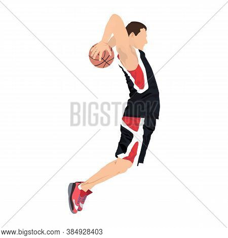Young Man Athlete, Professional Basketball Player Shooting Ball Into The Hoop Jumping In The Air, Ve