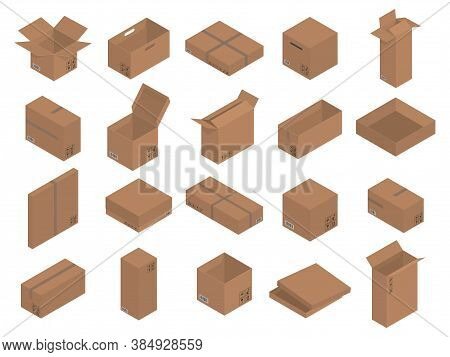 Set Of Cardboard Brown Boxes, Isometric Graphics. Vector Illustration.