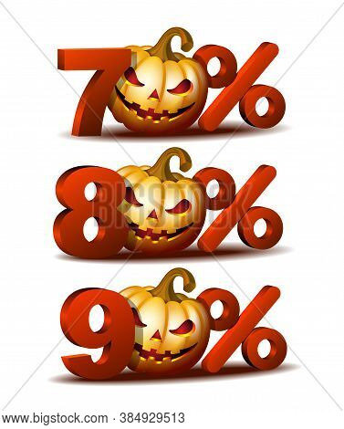 Seventy, Eighty And Ninety Percent Discount Icon With Scary Jack O Lantern Halloween Pumpkin.
