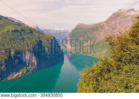 View Of The Geiranger Fjord From The Eagle Road Viewpoint. Ornesvingen Overlook. More Og Romsdal Cou