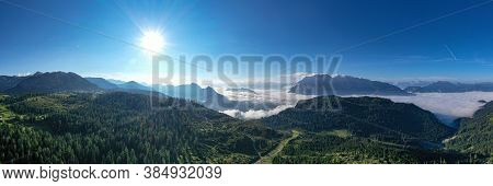 Tauplitz View To Grimming Mountain In The Austrian Alps. Beautiful Autumn Scenery In The Mountains.