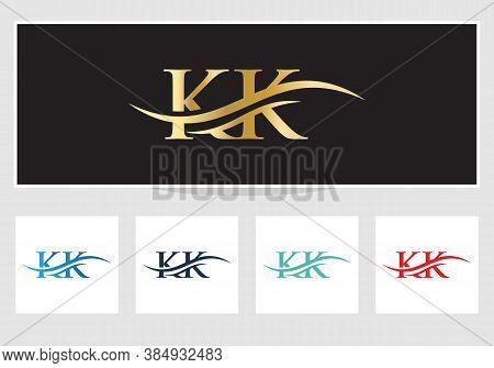 Water Wave Kk Logo Vector. Swoosh Letter Kk Logo Design For Business And Company Identity. Creative