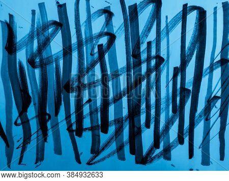 Stripe Patchwork. Aqua Cute Hand Drawn. Indigo Stripe Patchwork. Water Color Stripe Pattern. Illustr