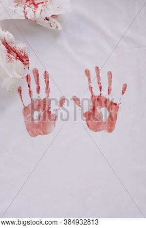 Red Silhouette Handprints And Napkins In Blood Isolated On White Background