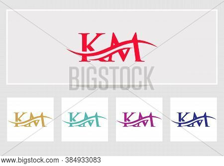 Swoosh Letter Km Logo Design For Business And Company Identity. Creative Km Letter With Luxury Conce