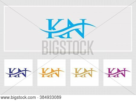 Swoosh Letter Kn Logo Design For Business And Company Identity. Creative Kn Letter With Luxury Conce