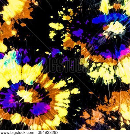 Bleached Spiral. Rainbow Texture Hippie. Colorful Hypnotist Spiral. Hippy Colors. Cosmos Dying Color