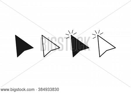 Mouse Cursor Arrow. Computer Pointer Icon In Black And White. Isolated Clicking Mouse Arrow.choice S