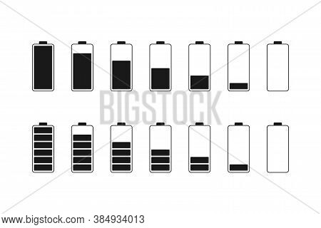 Battery Level Indicator In Black And White. Energy Capacity From Full To Empty Status. Mobile Batter