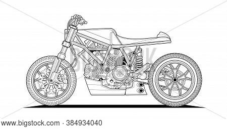 Adult Motorcycle Coloring Page For Book And Drawing. Cafe Style. Race. Moto Vector Illustration. Hig