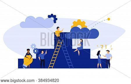 Achievement Target Career Challenge Vector Flat Illustration. People Kpi Walking Steps To Direction.