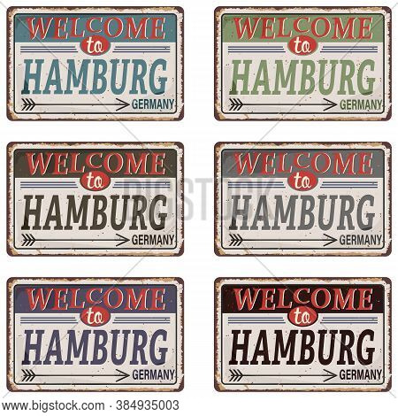 Vintage Tin Sign. Hamburg City Vintage Poster Vector Set. Vintage Tin Sign With German City. Hamburg