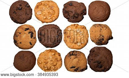 Top View Of Baked Cookies Isolated On White,desserts With Peanut Cookies,baked Chocolate Chip Cookie