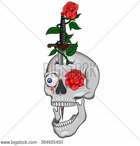 Illustration Of Skull Dagger And Roses, Traditional High Quality Art With Sparkles And Shadows, All