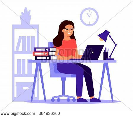 Young Woman Sitting At Table With Laptop. Busy Woman Work With Pile Of Papers In Office. Workflow, W