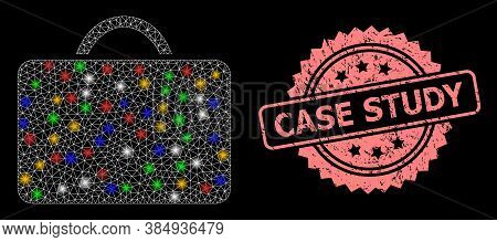 Shiny Mesh Net Case With Light Spots, And Case Study Rubber Rosette Stamp. Illuminated Vector Mesh C