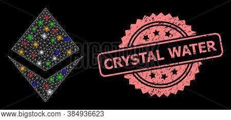 Glowing Mesh Net Crystal With Bright Dots, And Crystal Water Dirty Rosette Seal. Illuminated Vector