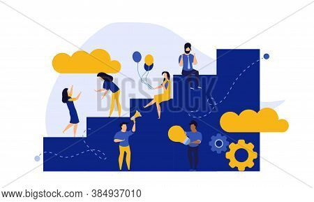 Achievement Target Career Challenge Vector Flat Illustration. People Kpi Walking Steps To Direction.