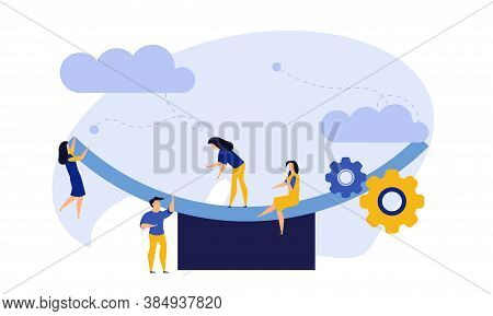 Comparison Employee Business People Vector Illustration. Advocate Person Unbalanced Weight. Woman An