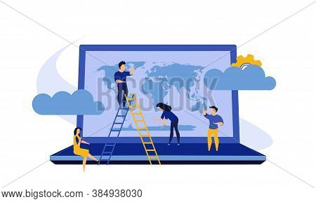 Business Global Earth Vector Map Concept With Laptop. Pc Consulting Idea World. Man And Woman Group