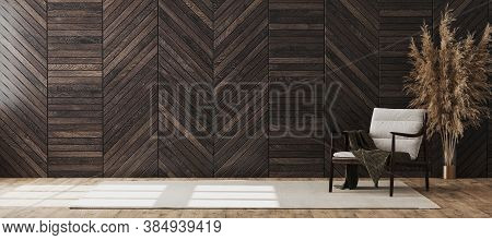 Empty Modern Room Interior Mock Up With Wooden Decorative Panel On The Wall And Wooden Chair With Bl
