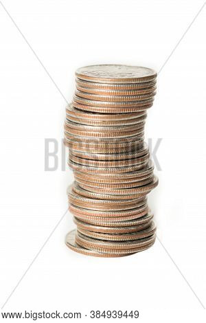 Stack Of Us Quarters On White Background