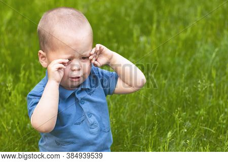 Sad Little Baby Boy Crying, Rubs His Eyes With His Hands In The Park. Allergy Or Tears In The Baby.
