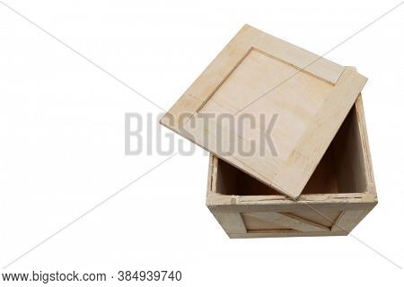 Wooden Shipping Crate. Empty Wooden Box used to ship goods and products world wide. Isolated on white. Room for text.