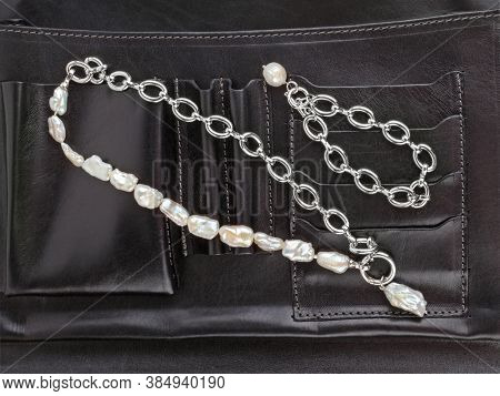 Women`s Silver Chain Necklace With And Bracelet Baroque Pearl Pendant On Female Black Leather Cosmet