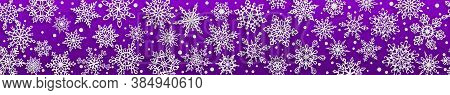 Christmas Seamless Banner Of Paper Snowflakes With Soft Shadows On Purple Background. With Horizonta