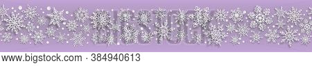 Christmas Seamless Banner Of Paper Snowflakes With Soft Shadows On Light Purple Background. With Hor