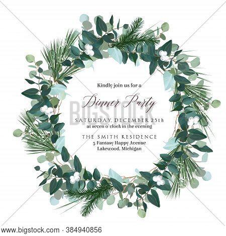 Greenery Round Wreath With Eucalyptus, Mistletoe, Emerald Spruce, Pine. Merry Christmas And Happy Ne