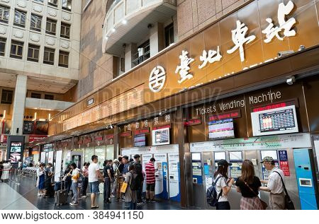 Taipei, Taiwan - August 16th, 2019: architecture of Taipei main train station with tourists, Taipei, Taiwan.