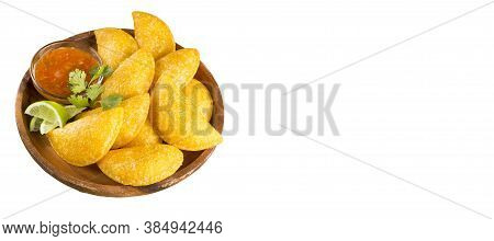 Colombian Empanada With Spicy Sauce - White Background