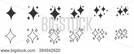 Black Line And Silhouette Symbols Sparkles Icon Set. Outline Decorative Twinkle Sparkle Lights Star.