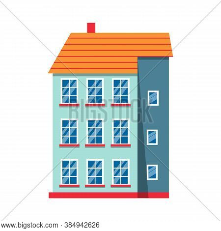 Flat Icon House Colorful Architecture Amsterdam. Single Icon Urban Building Tall Town And Suburban H
