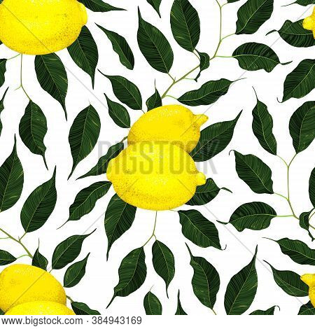 Yellow Lemon Citrus Fruit Branch With Green Leaves Seamless Pattern Texture Background Vector Art